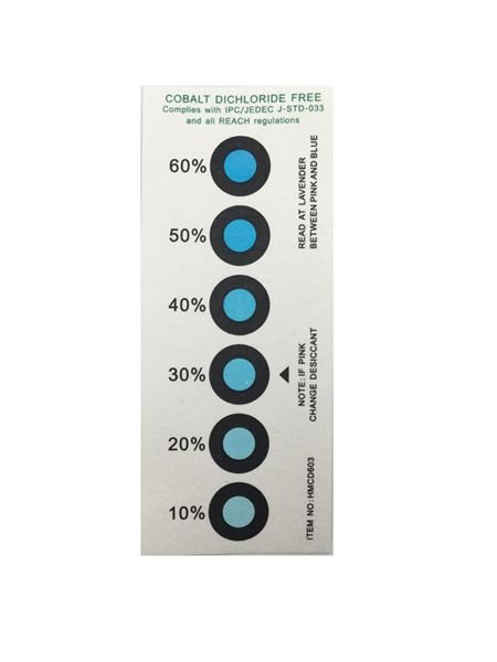 Blue To Pink Humidity Indicator label